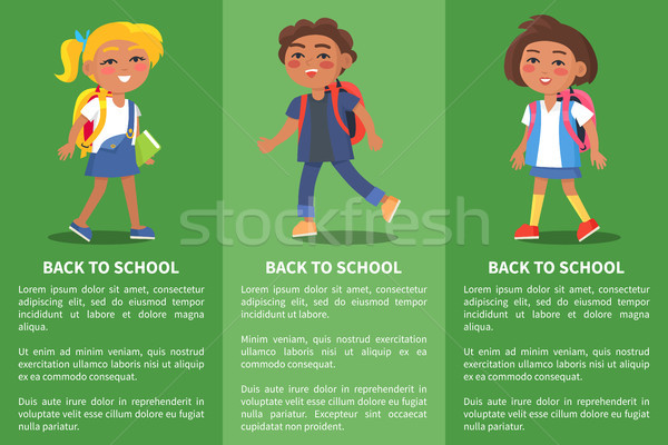Back to School Collection of Posters with Kids Stock photo © robuart