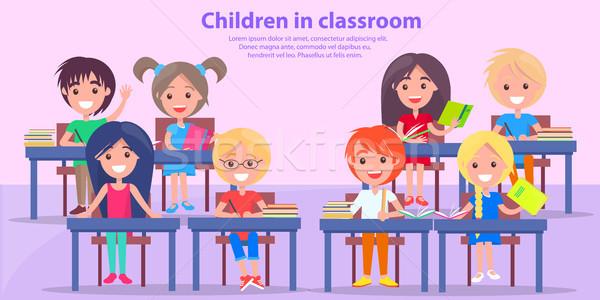 Stockfoto: Kinderen · klas · studeren · vector · foto · jongens