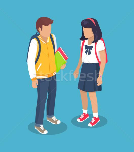 Escuela secundaria mochila libros manos Foto stock © robuart
