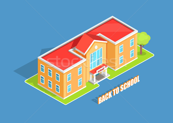 Back to School 3D Illustration Isolated on Blue Stock photo © robuart