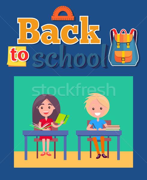 Снова в школу плакат сумку транспортир Сток-фото © robuart