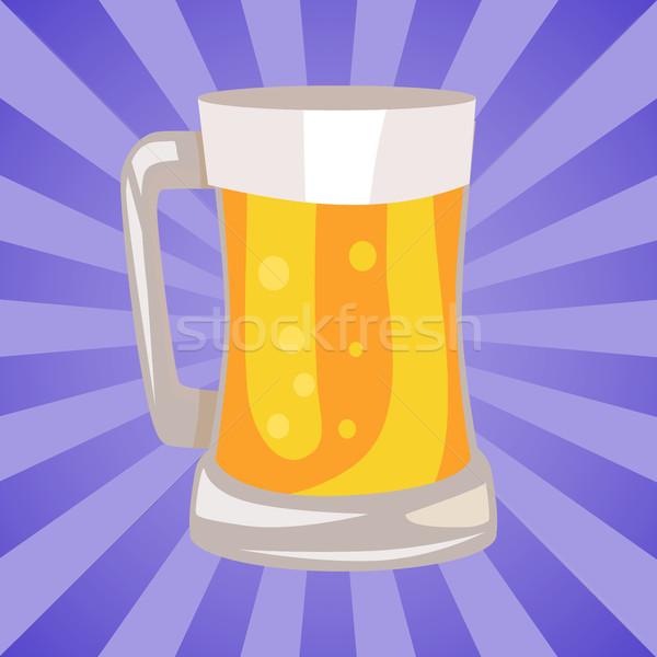 Bögre világos sör izolált absztrakt sugarak hagyományos Stock fotó © robuart