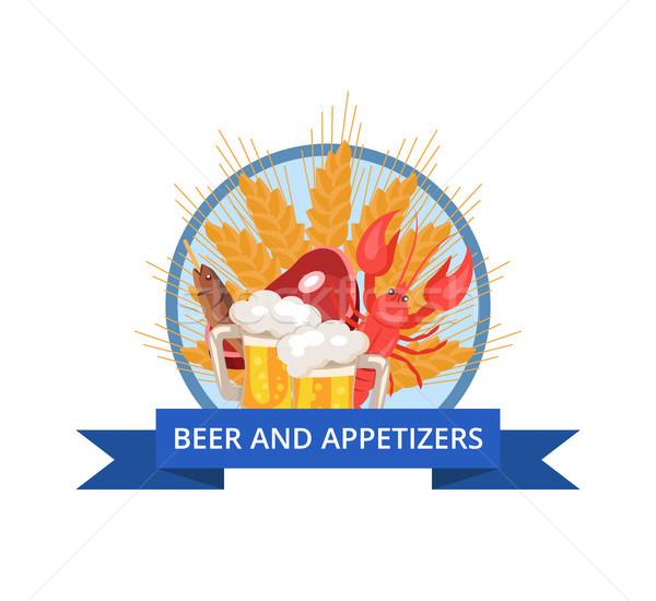 Sör előételek poszter vektor Oktoberfest búza Stock fotó © robuart