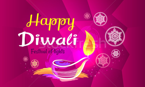 Stock photo: Happy Diwali Poster with Purple Pattern Backdrop