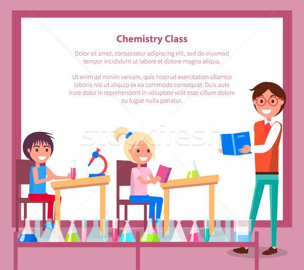 химии класс баннер учитель студентов сидят Сток-фото © robuart