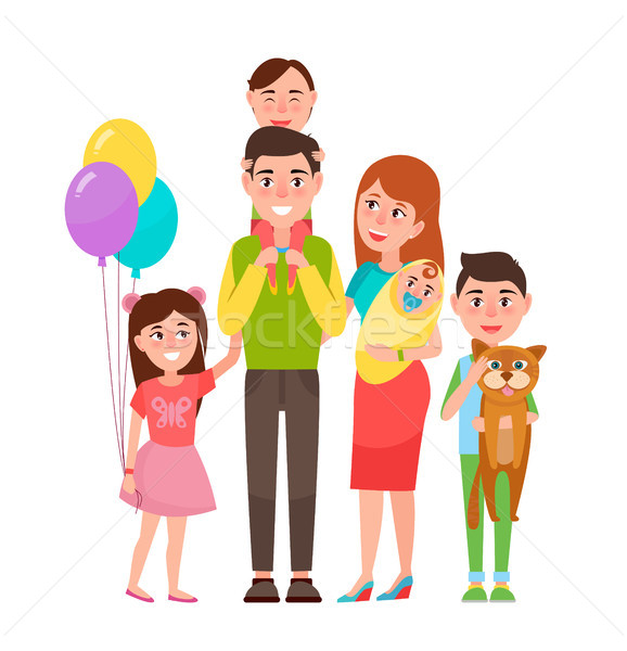 Gelukkig uitgebreide familie icon geïsoleerd witte ouders Stockfoto © robuart