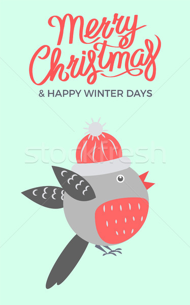 Merry Christmas Bullfinch Vector Illustration Stock photo © robuart