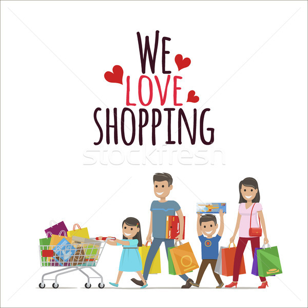 Stock photo: We Love Shopping Flat Vector Concept with Family