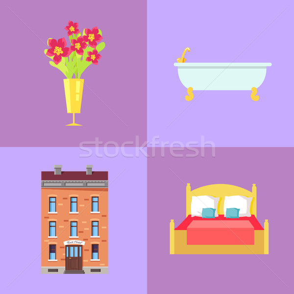 Hotel Building and Interior Parts Illustrations Stock photo © robuart