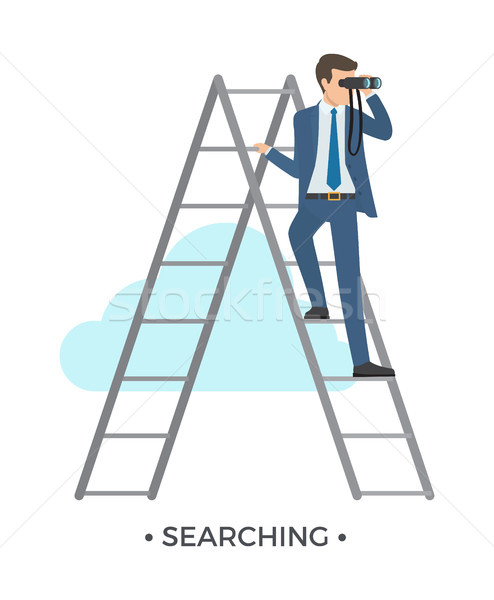 Сток-фото: поиск · человека · лестнице · формальный · костюм · Постоянный