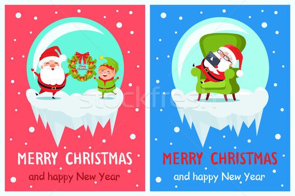 Alegre natal feliz ano novo elfo banners Foto stock © robuart