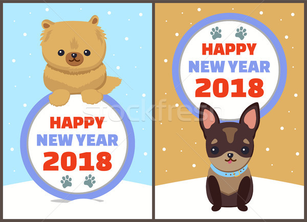 Happy New Year 2018 Dogs Set Vector Illustration Stock photo © robuart