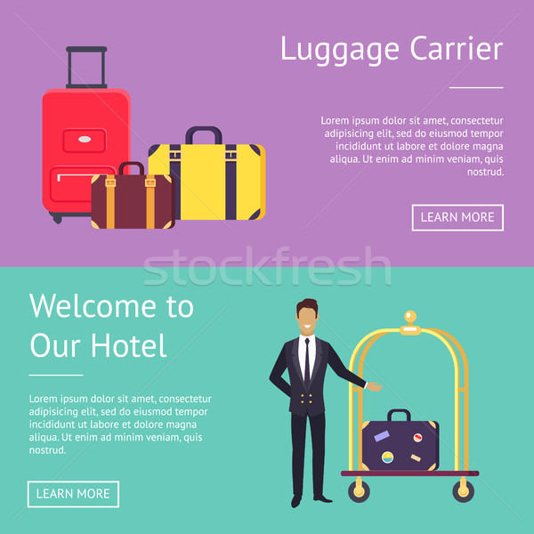 Welcome to Our Hotel Luggage Carrier Greeting Stock photo © robuart