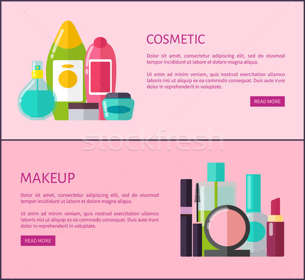Cosmetic and Makeup Means Internet Promo Pages Stock photo © robuart
