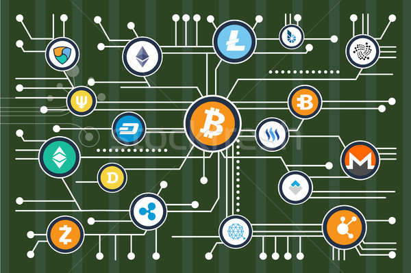 Cryptocurrency Mining Scheme with Colorful Icons Stock photo © robuart