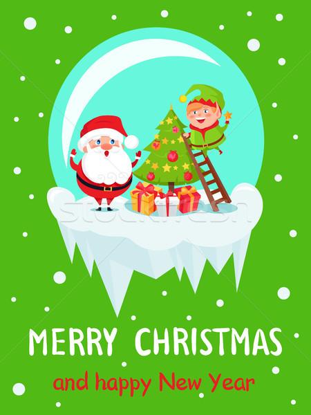 Postal alegre Navidad feliz año nuevo elfo Foto stock © robuart