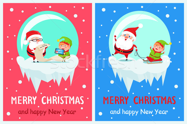 Stock photo: Merry Christmas List of Gifts Vector Illustration
