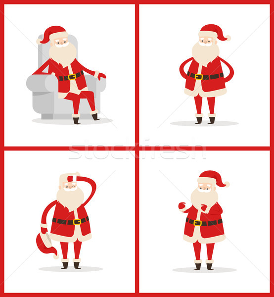 Santa Claus Set of Posters Vector Illustration Stock photo © robuart