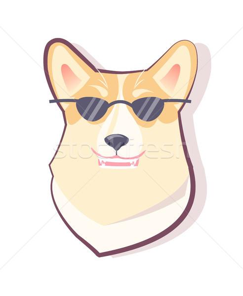 Kutya emotikon kutyakölyök szemüveg visel fekete Stock fotó © robuart