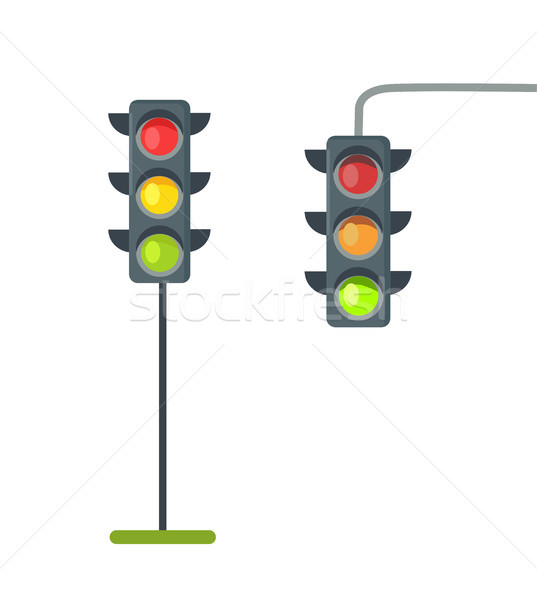 Icons of Traffic Lights Isolated Vector on White Stock photo © robuart