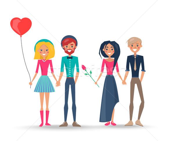 Boldog párok szeretet fiúk lányok szerelmespár Stock fotó © robuart