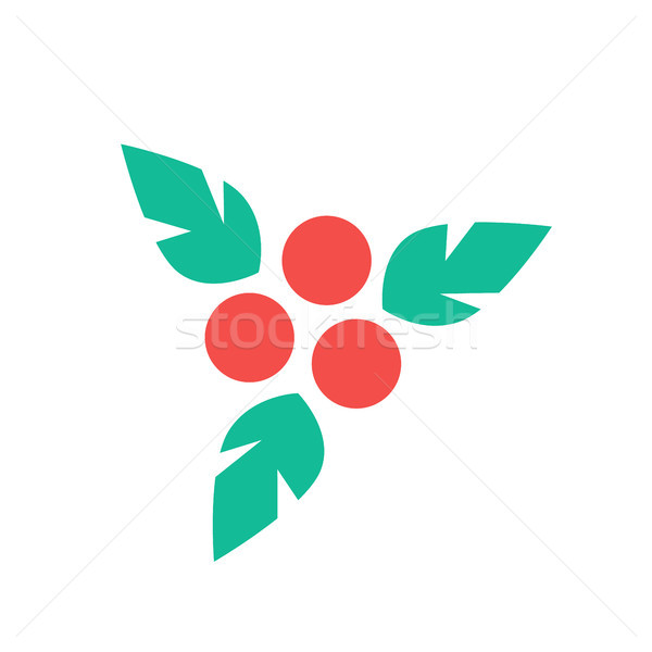Holly Leaves Christmas Design Vector Illustration Stock photo © robuart