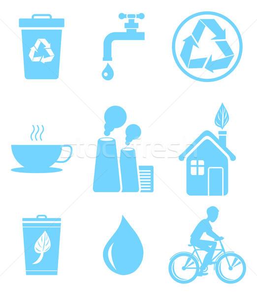 Blue Ecology Saving and Warning Isolated Icons Set Stock photo © robuart