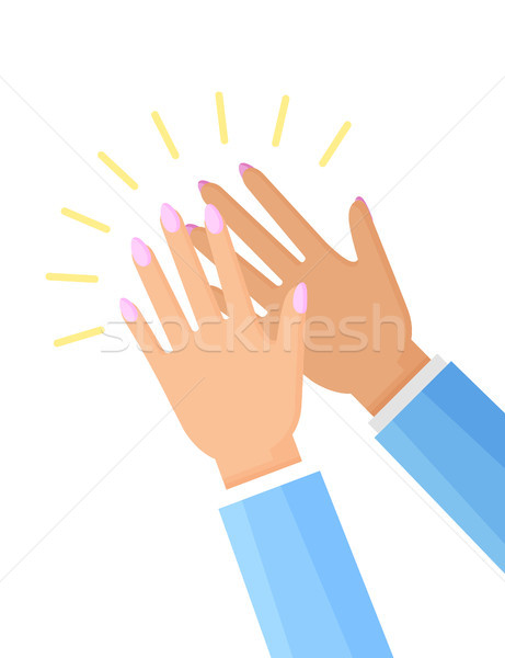 Clapping Hands of Woman Poster Vector Illustration Stock photo © robuart