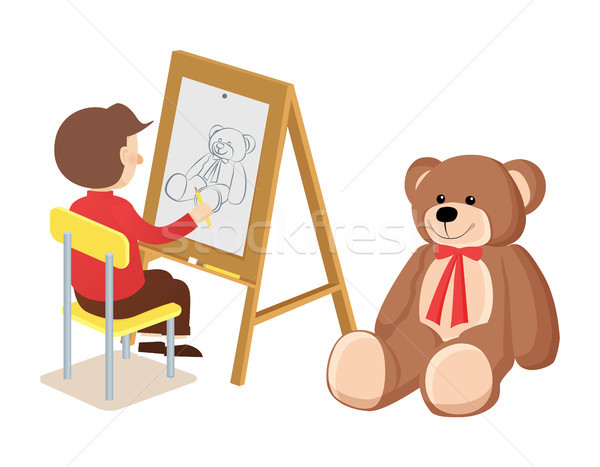 Boy Drawing Teddy Bear Poster Vector Illustration Stock photo © robuart