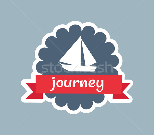 Journey Card with Red Ribbon Vector illustration Stock photo © robuart