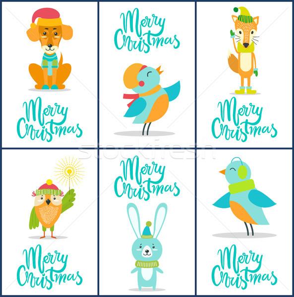 Neşeli Noel ayarlamak parlak kartpostallar Stok fotoğraf © robuart