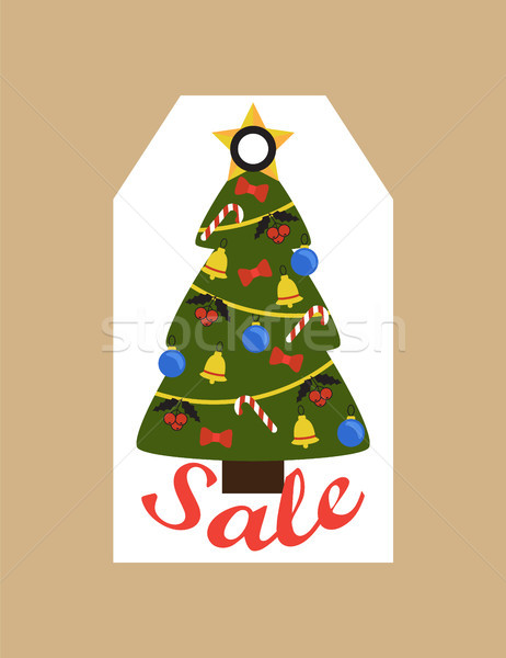 Sale Promo Tag of Evergreen Tree Topped by Star Stock photo © robuart