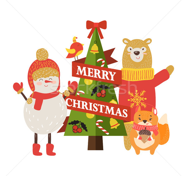 Vidám karácsony képeslap rajz betűk hóember Stock fotó © robuart