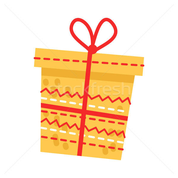 Big Yellow Embroidered Present on White Background Stock photo © robuart