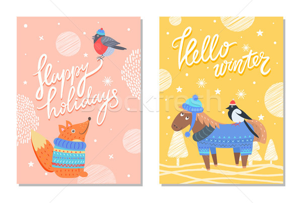 Mutlu tatil tebrik kartları sincap eşek Stok fotoğraf © robuart