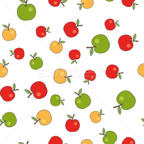 Stockfoto: Rijp · appels · vector · witte · kleurrijk