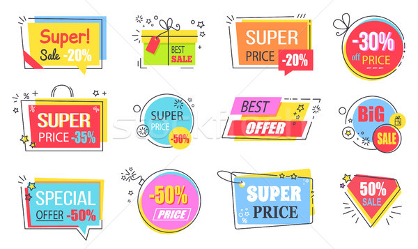 Super Price with Best Offer Promotional Logotypes Stock photo © robuart