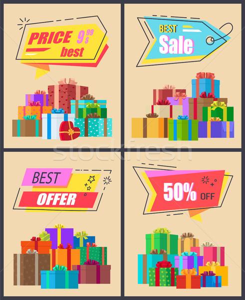 Legjobb ár vásár ajánlat gyűjtemény promóciós plakátok Stock fotó © robuart