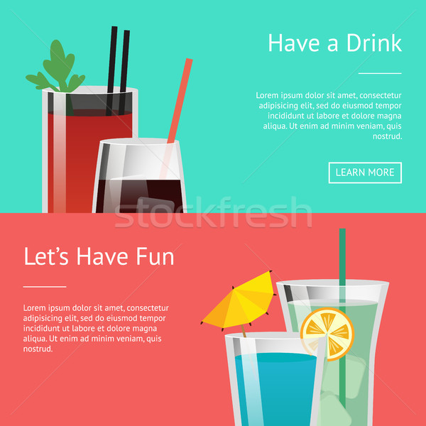 Have a Drink and Let s Have Fun Colorful Poster Stock photo © robuart