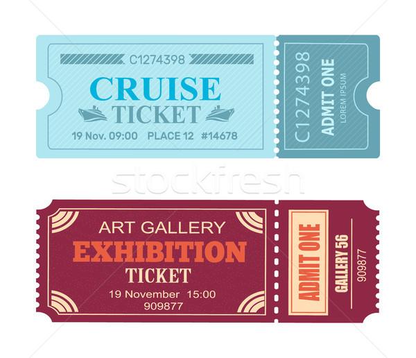 Kunstgalerie tentoonstelling cruise bon ingesteld vector Stockfoto © robuart