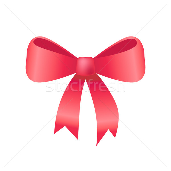 Red Bow Made of Silk Tape Icon Vector Illustration Stock photo © robuart