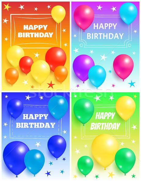 Happy Birthday Background Glossy Balloons and Star Stock photo © robuart