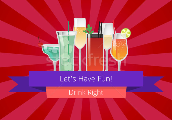 Lets Have Fun Drink Right Manual Web Page Design Stock photo © robuart