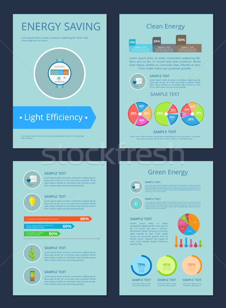 Energy Saving and Clean Set Vector Illustration Stock photo © robuart