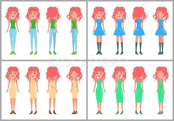 Women in dresses and jeans vector summer mode Stock photo © robuart