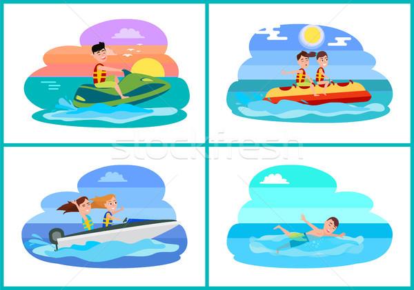 Human Summer Activities Set Vector Illustration Stock photo © robuart
