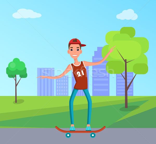 Adolescente skateboarding patinador joven skate skater Foto stock © robuart