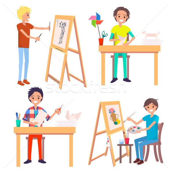 Process of Creating Art Picture and Making Origami Stock photo © robuart