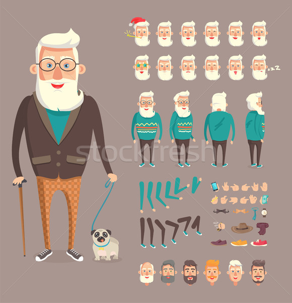 Grandfather Collection Builder Vector Illustration Stock photo © robuart