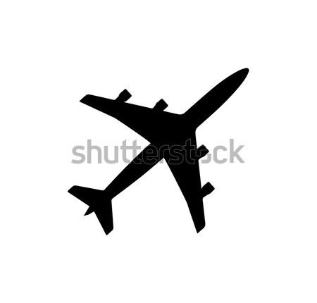 Airplane Icon Black Silhouette Vector Illustration Stock photo © robuart